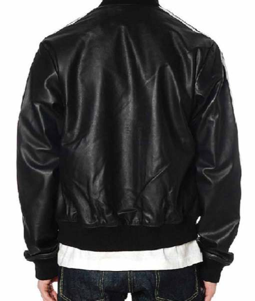striped-design-pharrell-williams-black-leather-bomber-jacket