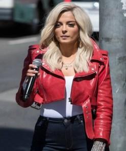 bebe-rexha-red-leather-jacket