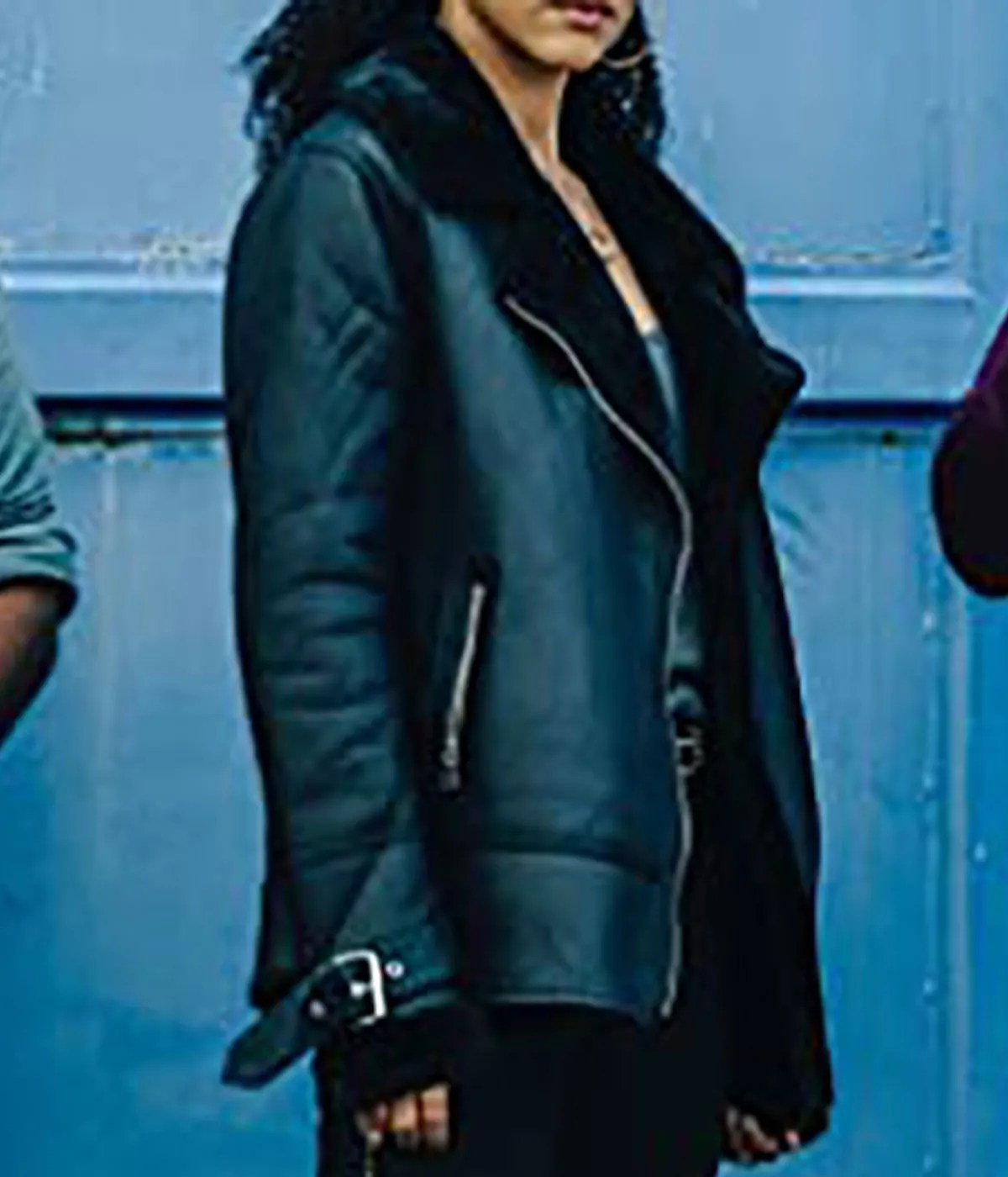 nathalie-emmanuel-shearling-leather-jacket