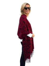 Reversible Red Black Jacquard Shawl Wrap | Shop with us at ...