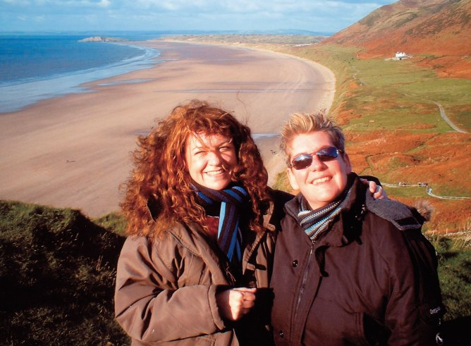 At Rhossili Beach with Catherine