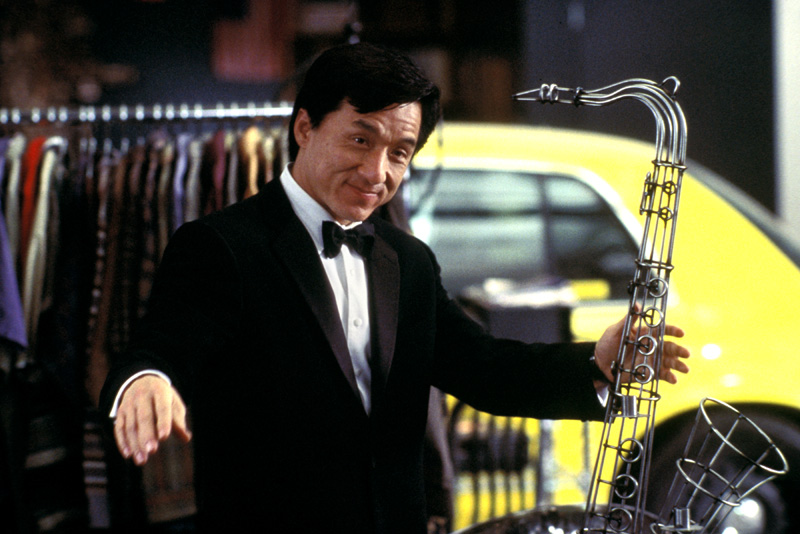 Jackie Chan wearing Antonio Valente formalwear in The Tuxedo
