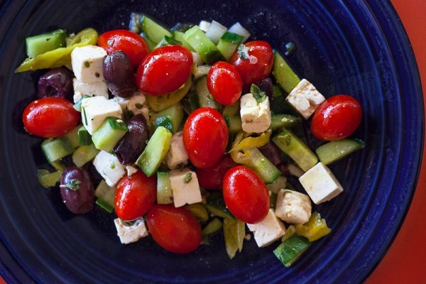 Greek Country Salad with Lemon-Anchovy Vinaigrette