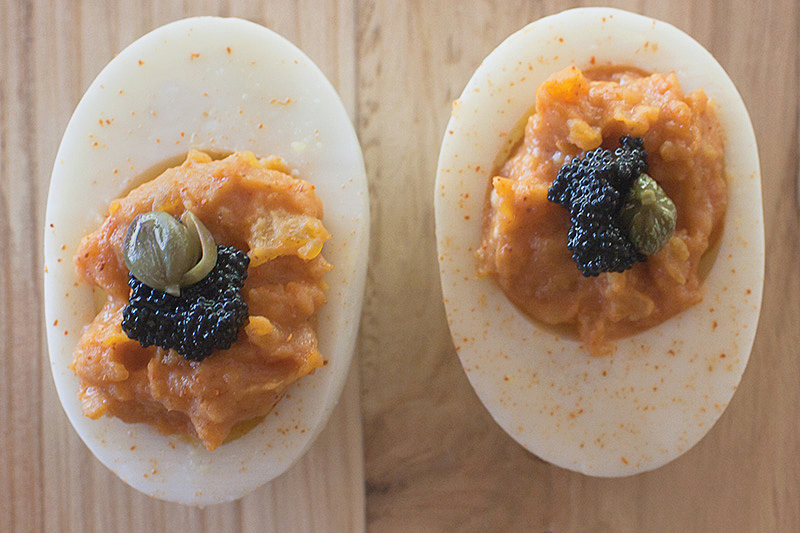 Chipotle Deviled Eggs With or Without Caviar