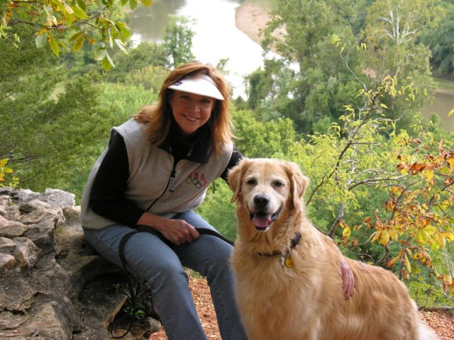 Jackie Trottmann and her dog Duffy the Golden Retriever