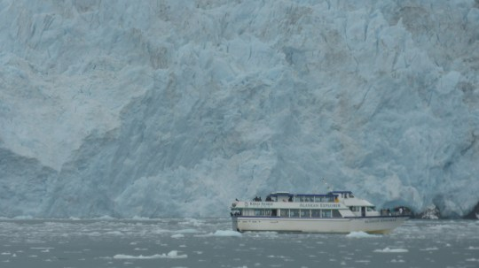 Aialik Glacier in Kenai Fjords National Park.  The cruise boats is 90 feet long so it gives you an idea of the scale of this Glacier.