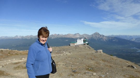Liz at the summit of the Jasper Tramcar cable car.