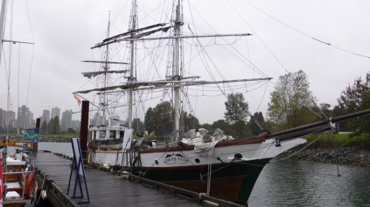 An old square rigger at the Wooden Boat Club at the Maritime Museum ferry stop