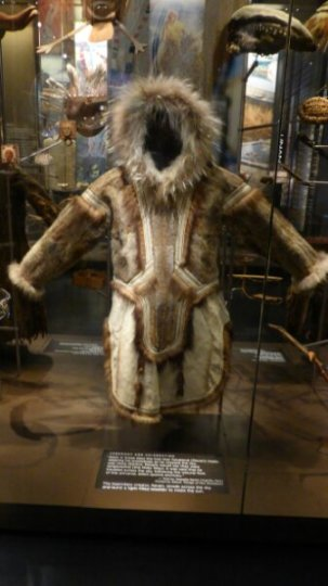 An Eskimo coat made from various animal skins.  Truly a work of art.