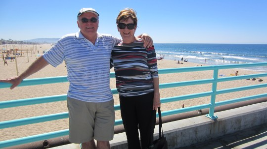 Enjoying the sunshine at Manhattan Beach in LA