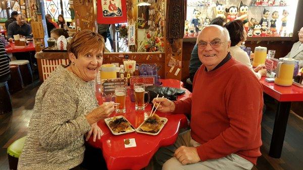 Enjoying Okonomiyaki