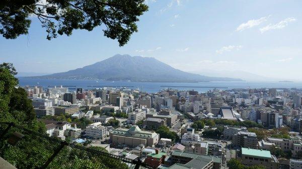 Mt Sakurajima volcano from the Shiroyama Obeservatory