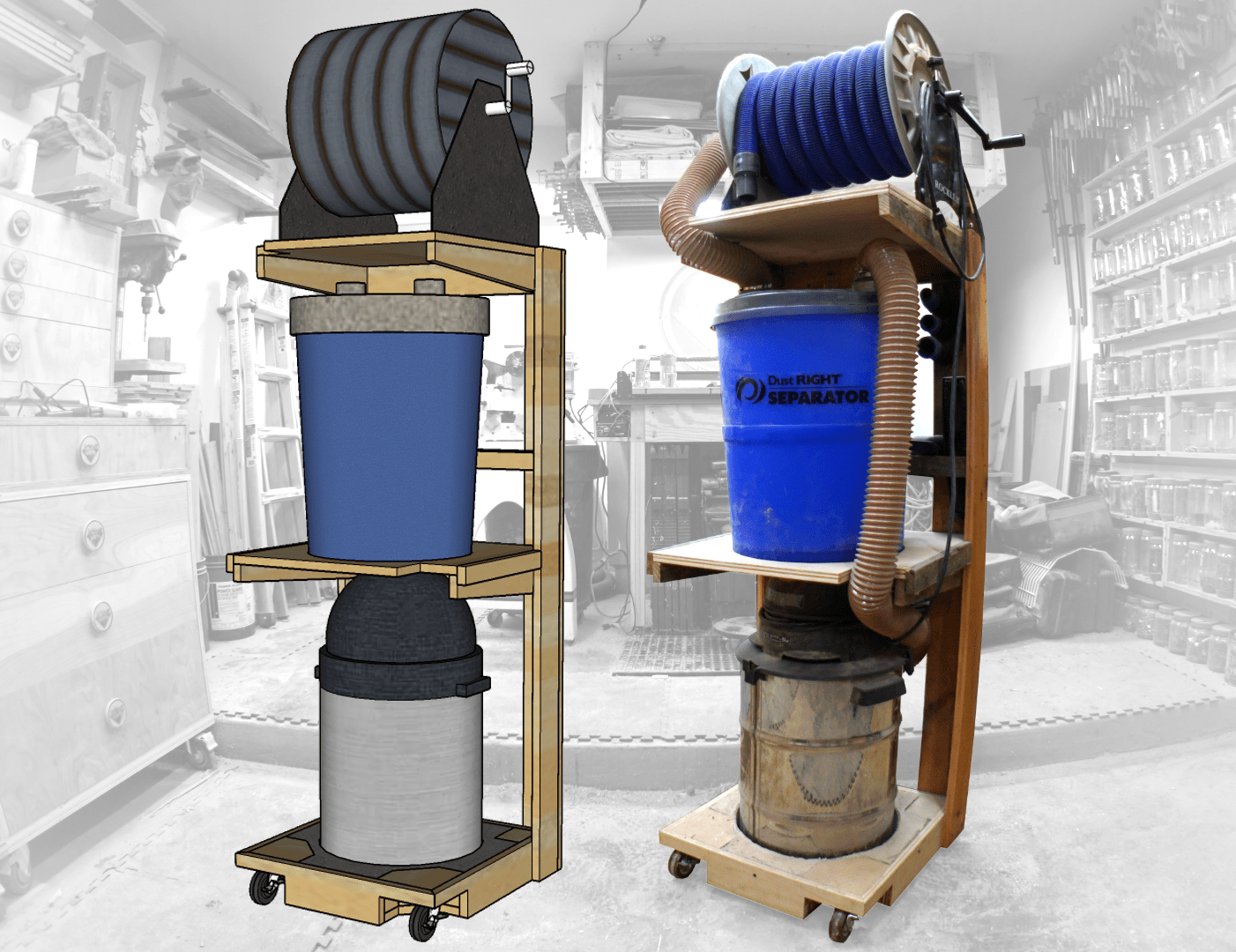 Space saving shop vac dust collector cart jackman works for Dust collection system design home shop
