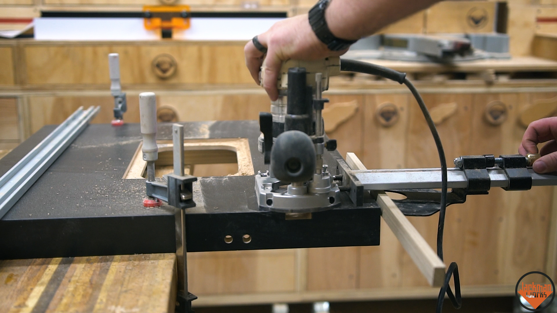 Router table storage cabinet 3 jackman works jackmanjackman worksfence systemrouter tablehow to build a router table woodworkingrouter liftshop storagestorageorganizationworkshop organization greentooth Gallery