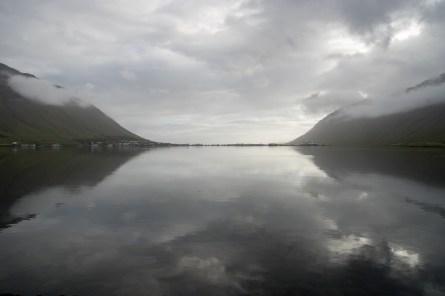 Leaving Ísafjörður on a silent morning