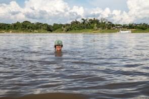 Swimming in the Javari river