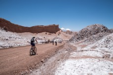 biking through the salty desert