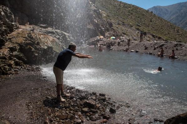 Enjoying a waterfall