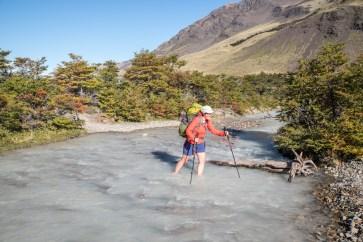 Glacier river crossing