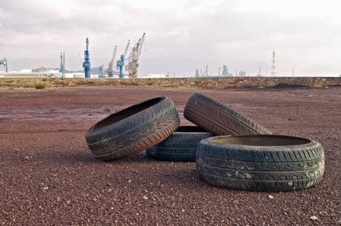 Still Life with Tyres and Cranes