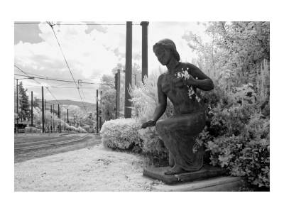 Statue Holding Flowers in Infrared