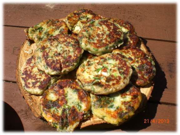 ramson and feta fritters