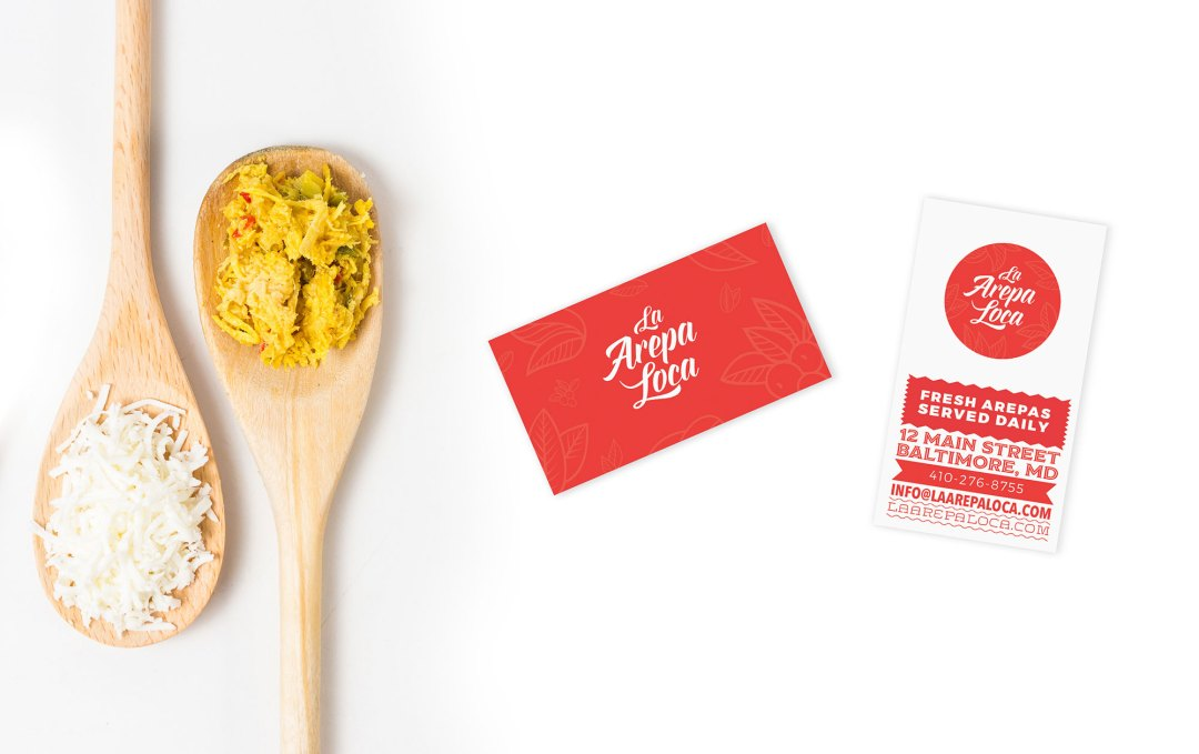 La Arepa Loca business card design