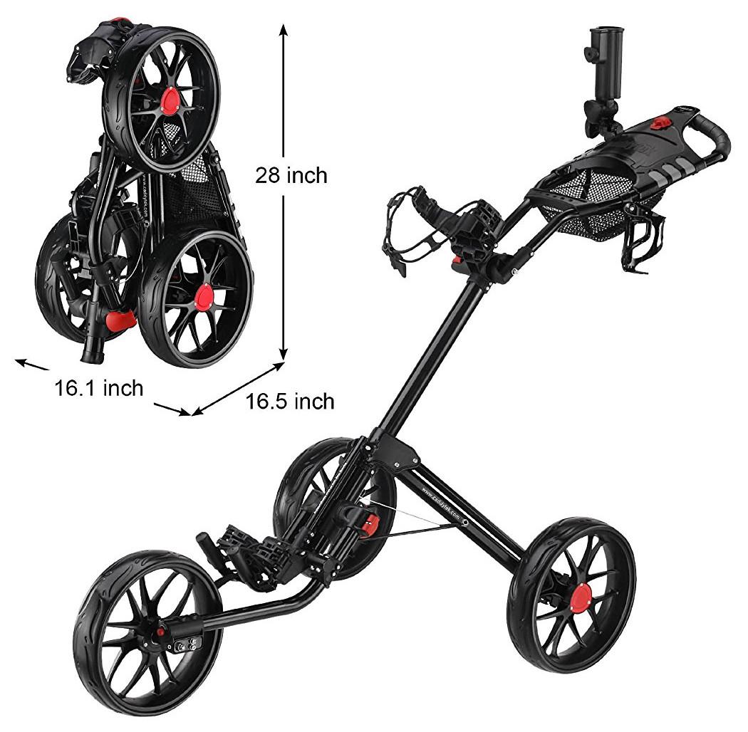 CaddyTek Super Deluxe Quad Fold Golf Push Carts
