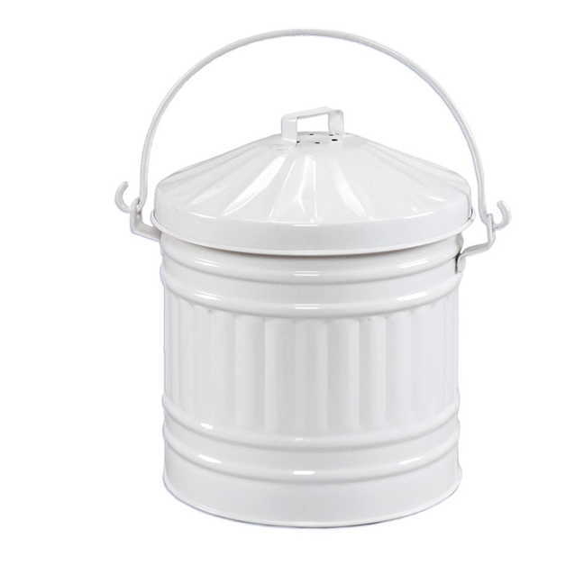 kitchen compost container dresser pail white enamel