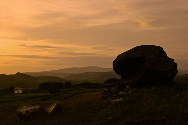 Samson's Toe erratic, looking over Ribblesdale