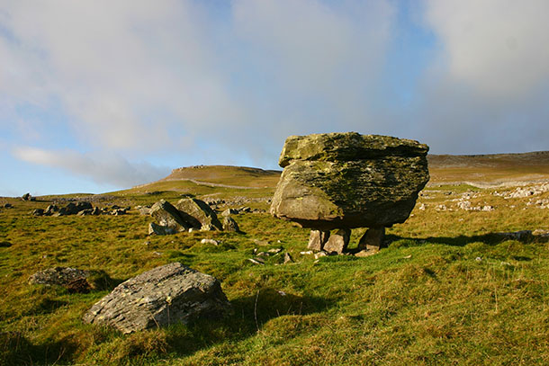 A walking boulder at Norber Erratics