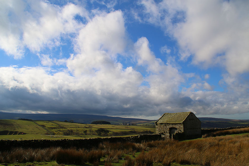 Pennines and barn on road to Slaidburn from Clapham