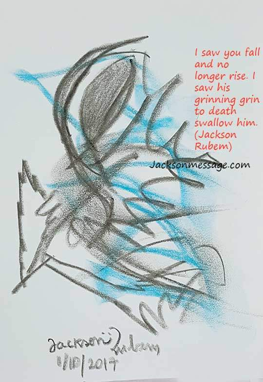Original drawing with message terrorist attack in Marseilles - 2