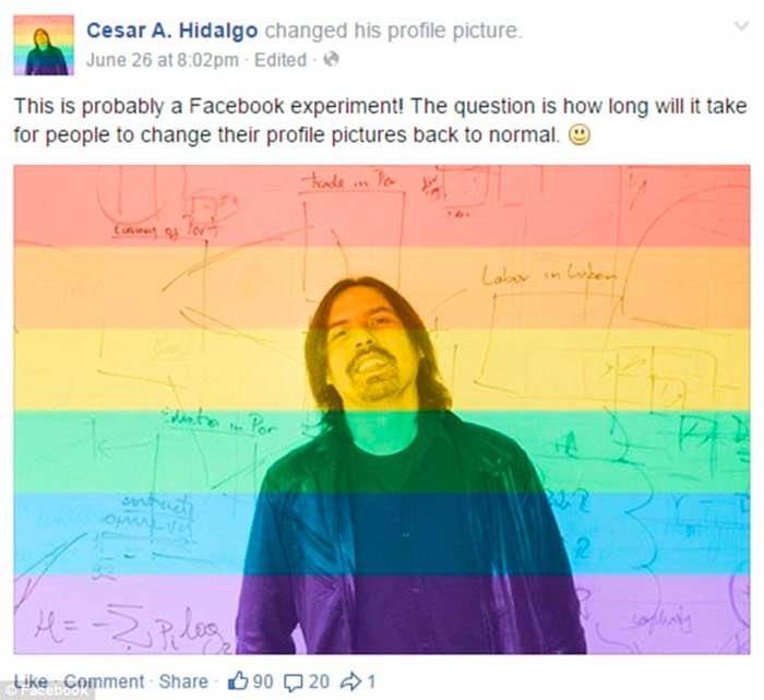 Facebook faz teste comportamental com o arco-íris - foto