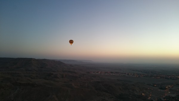 Hot Air Balloon over the Lights of Luxor