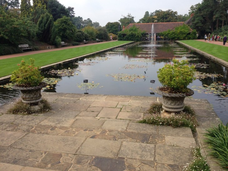 The view from the main house and entrance across the lily pond into the gardens