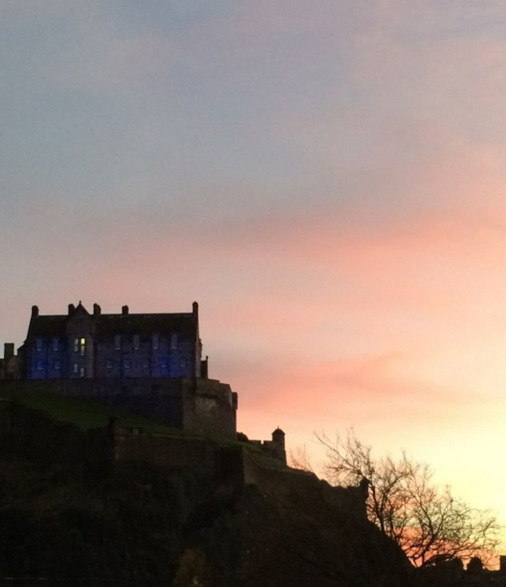Edinburgh castle at sun set