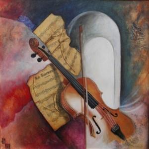 Douceur de violon - 70 X 70 cm