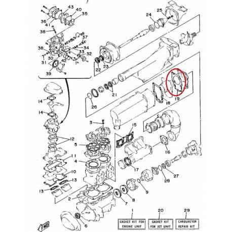 Joint de couvercle d'échappement pour jet ski Yamaha WR650