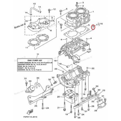 Téton de cylindre pour jet ski Yamaha EXS1200 1999 LST1200