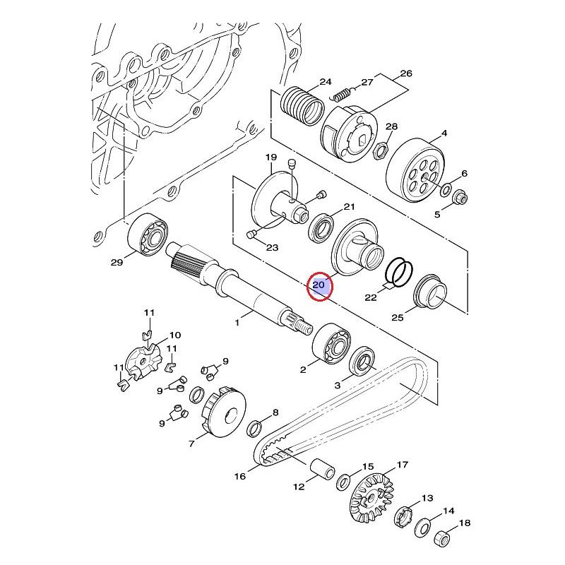 Poulie coulissante secondaire pour Yamaha Cygnus 125 de