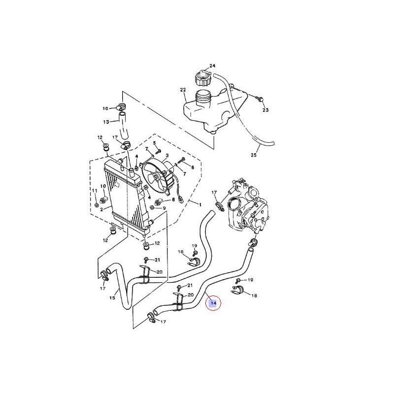 Durite de radiateur pour Yamaha Majesty YP125 de 2003 à