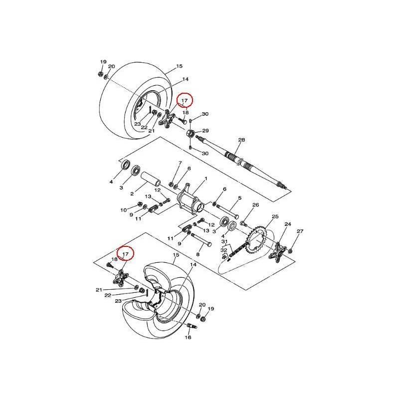 Porte moyeu roue arrière droit ou gauche pour Quad Yamaha