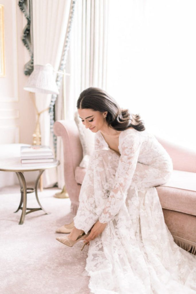 Bride getting ready at the Claridge's hotel in London