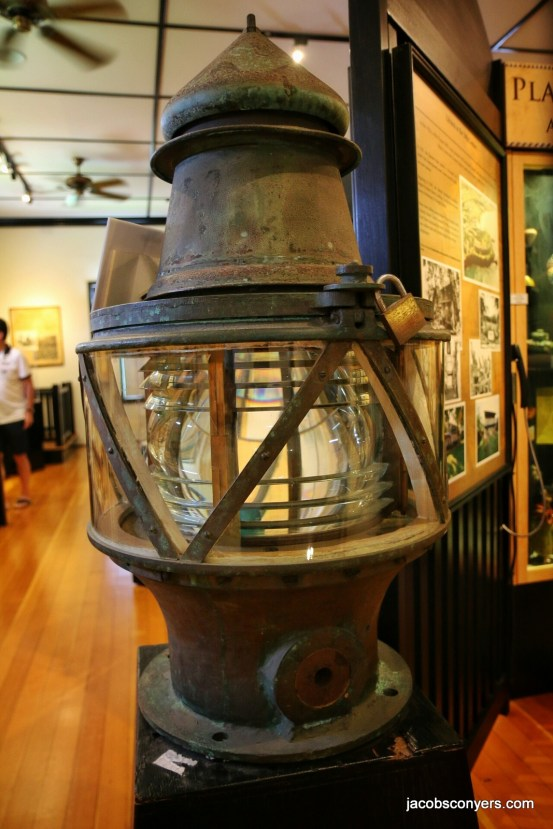 Old lighthouse light at the Lahaina history museum