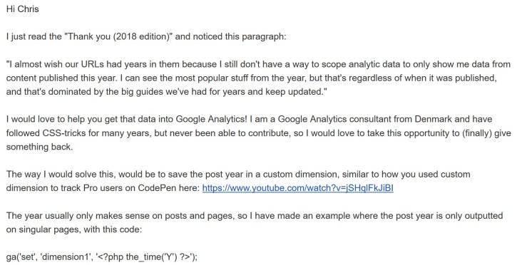 Min pitch email til Chris Coyier