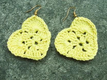 Yellow crocheted heart earrings