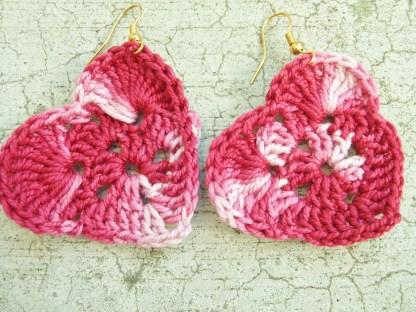 variegated pink crocheted heart earrings