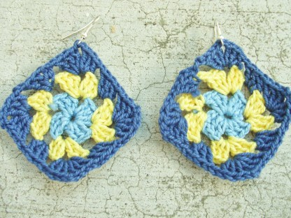 light blue / yellow / dark blue granny square earrings