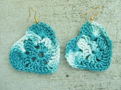 variegated teal crocheted heart earrings